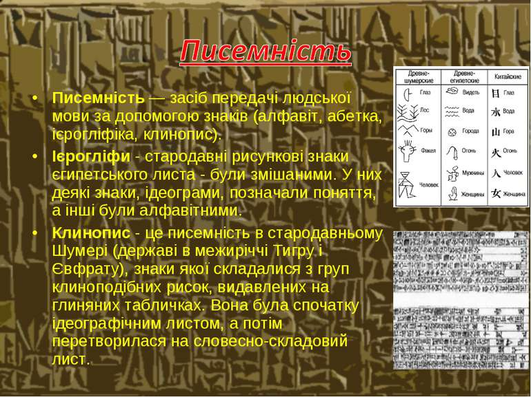 Писемність — засіб передачі людської мови за допомогою знаків (алфавіт, абетк...