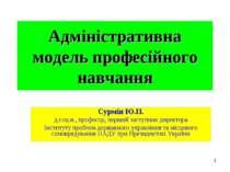 Адміністративна модель професійного навчання Сурмін Ю.П. д.соц.н., професор, ...