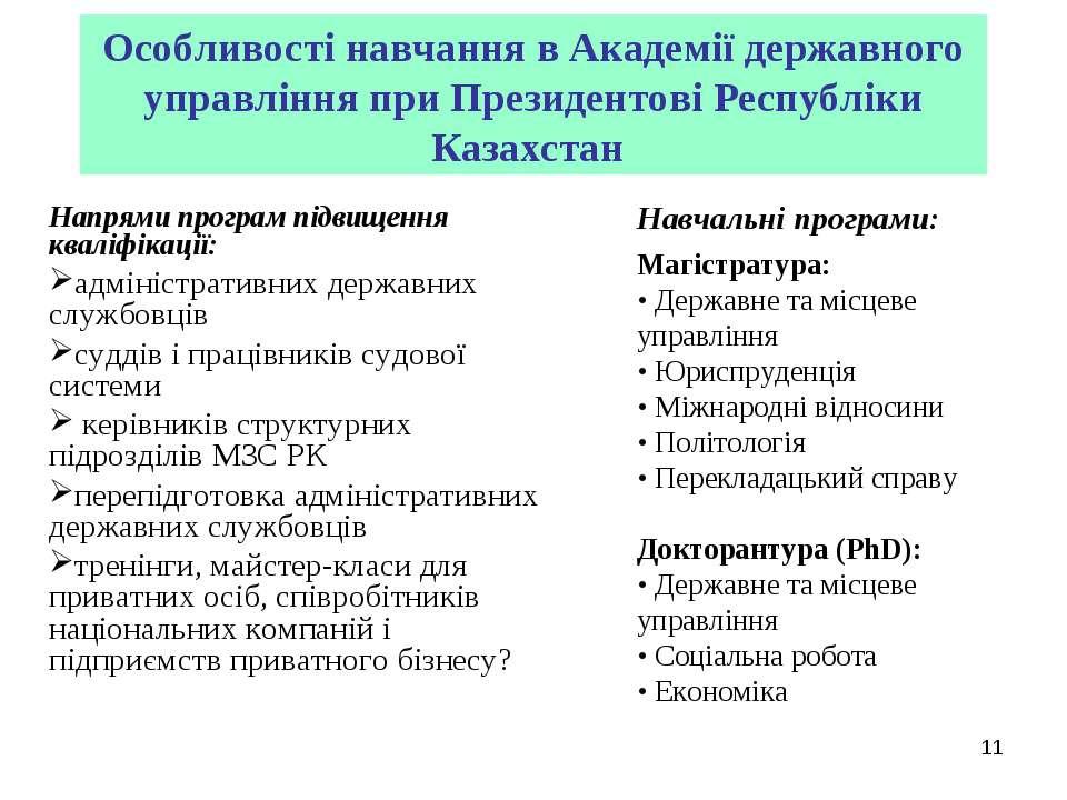 Особливості навчання в Академії державного управління при Президентові Респуб...