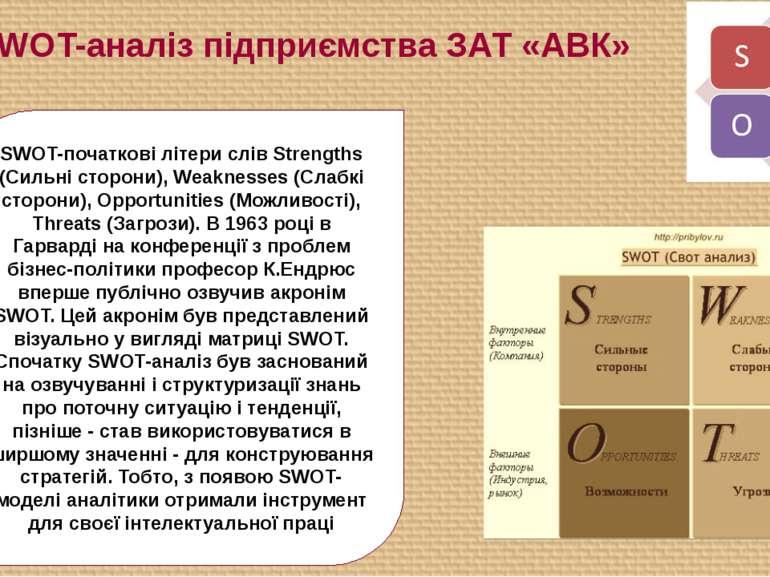 9. SWOT-аналіз підприємства ЗАТ «АВК» SWOT-початкові літери слів Strengths (С...