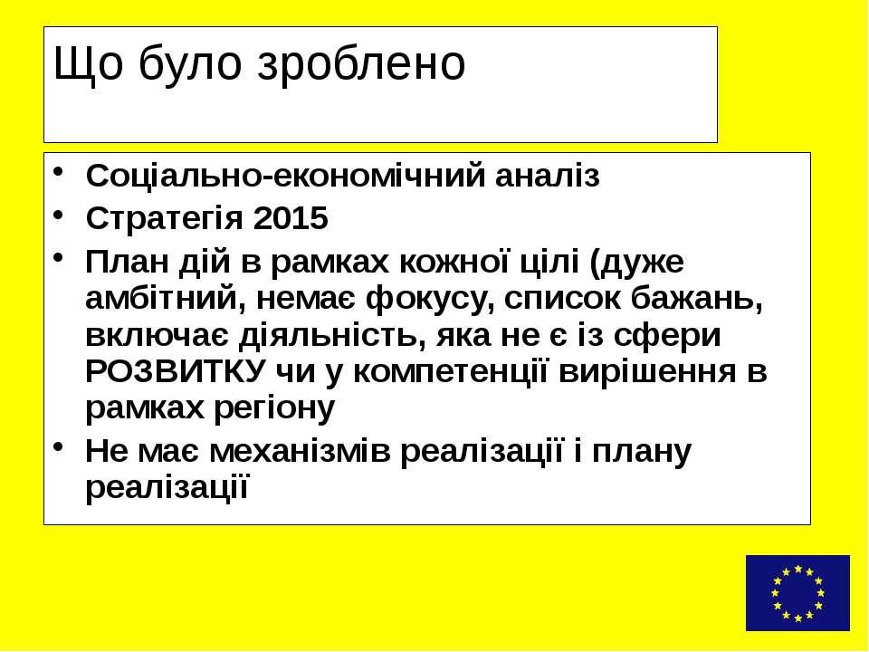 Що було зроблено Соціально-економічний аналіз Стратегія 2015 План дій в рамка...