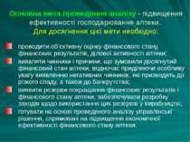 Основна мета проведення аналiзу - пiдвищення ефективностi господарювання апте...