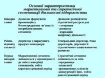 Основні характеристики маркетингової та стратегічної сегментації діяльності п...