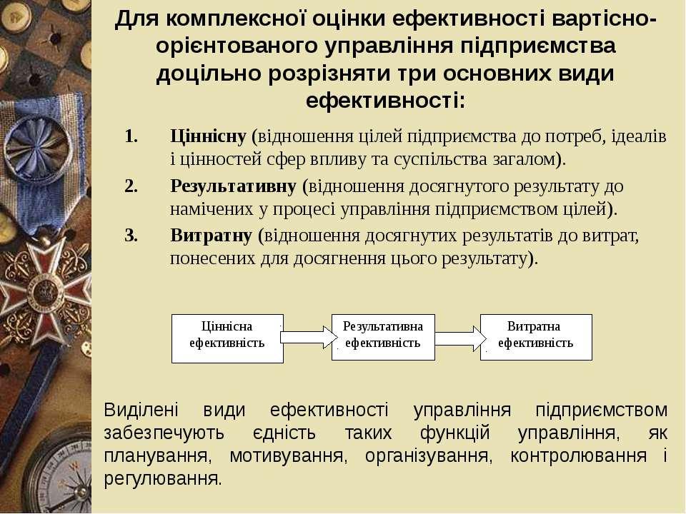 Для комплексної оцінки ефективності вартісно-орієнтованого управління підприє...