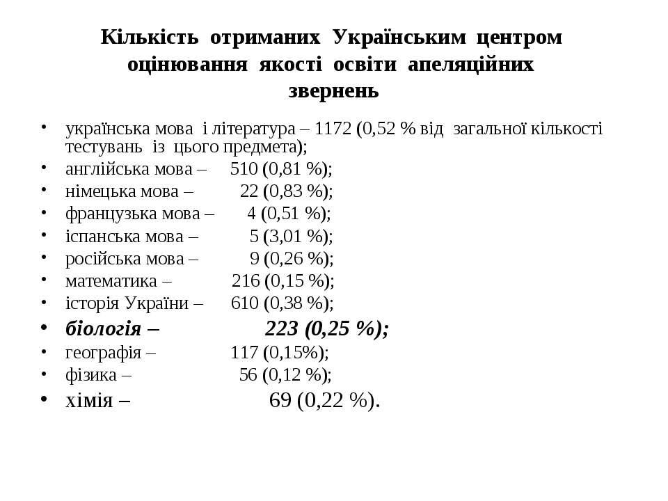 Кількість отриманих Українським центром оцінювання якості освіти апеляційних ...
