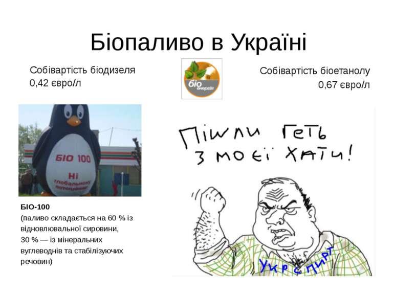 Біопаливо в Україні 0,42 євро/л Собівартість біодизеля Собівартість біоетано...