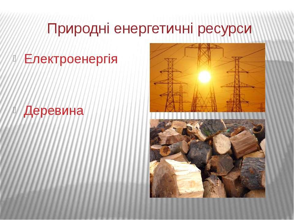 Природні енергетичні ресурси Електроенергія Деревина