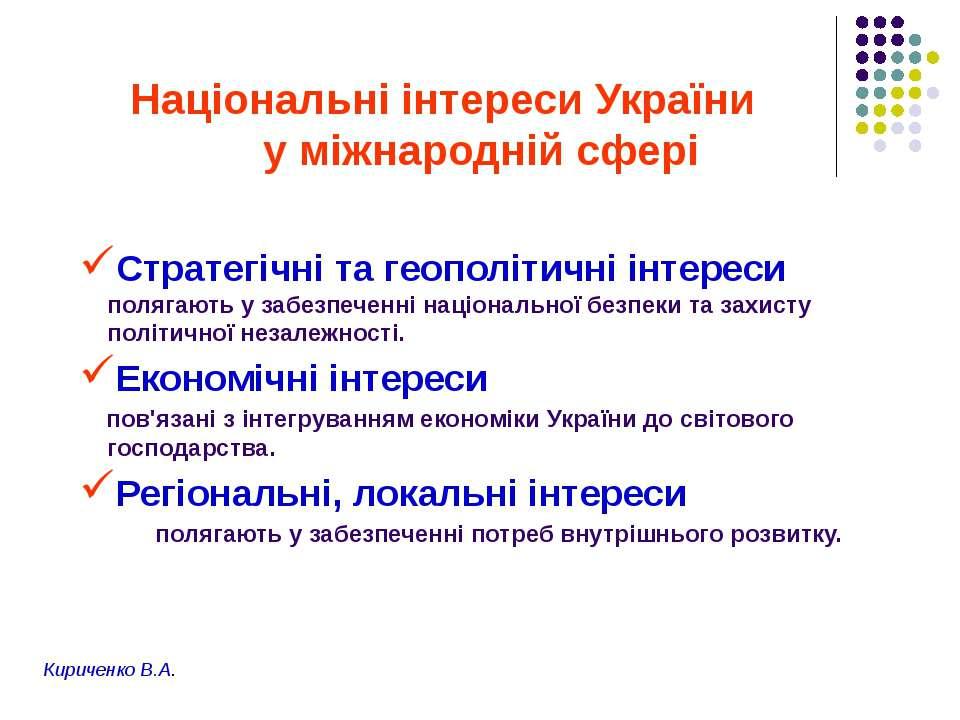 Національні інтереси України у міжнародній сфері Стратегічні та геополітичні ...