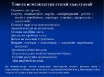 Типова номенклатура статей калькуляції Сировина і матеріали; Покупні комплект...