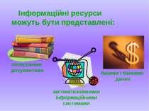Iнформацiйнi ресурси можуть бути представленi: паперовими документами автомат...