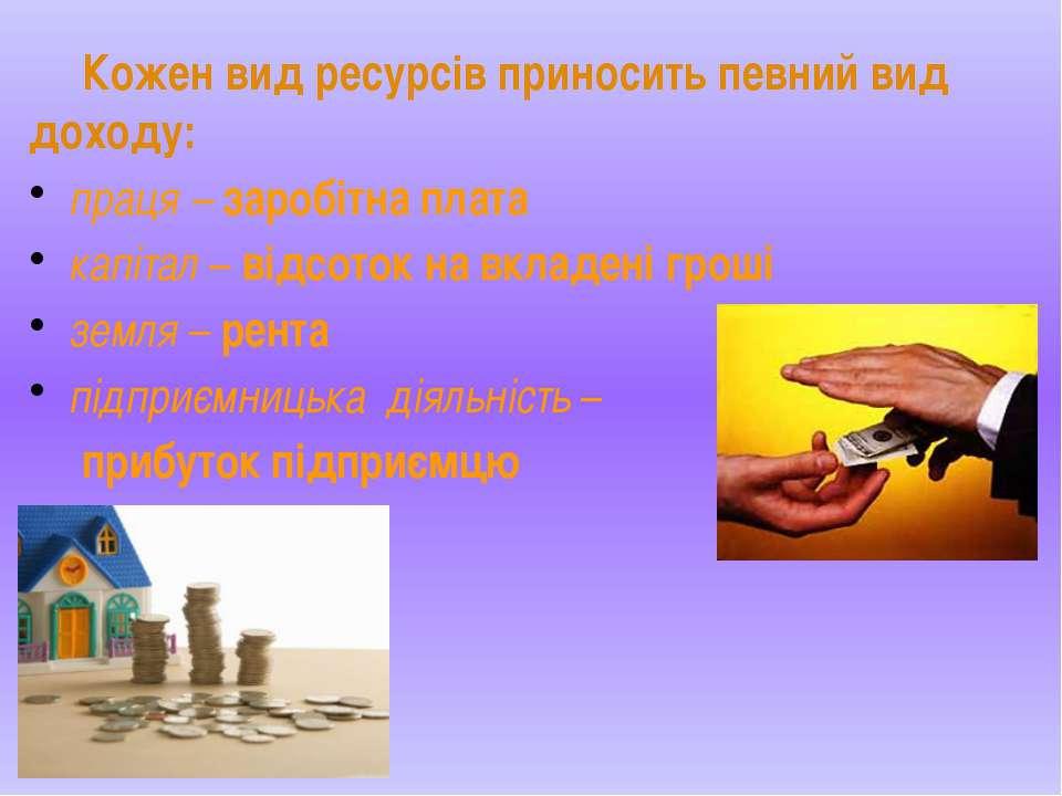 Кожен вид ресурсів приносить певний вид доходу: праця – заробітна плата капіт...