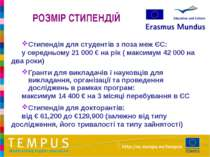 РОЗМІР СТИПЕНДІЙ Стипендія для студентів з поза меж ЄС: у середньому 21 000 €...