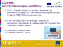 НАПРЯМ I: результати конкурсу за 2009 рік: 2316 - загальна кількість студенті...