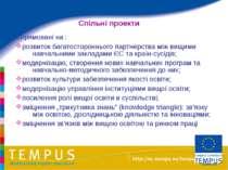 Спільні проекти Спрямовані на : розвиток багатостороннього партнерства між ви...