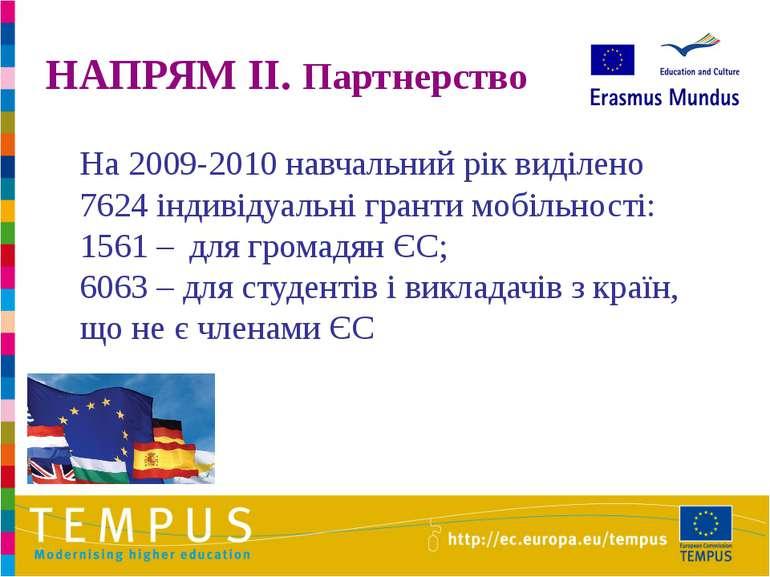 НАПРЯМ II. Партнерство На 2009-2010 навчальний рік виділено 7624 індивідуальн...