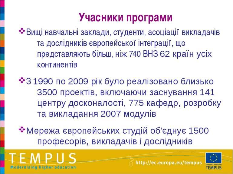 Учасники програми Вищі навчальні заклади, студенти, асоціації викладачів та д...