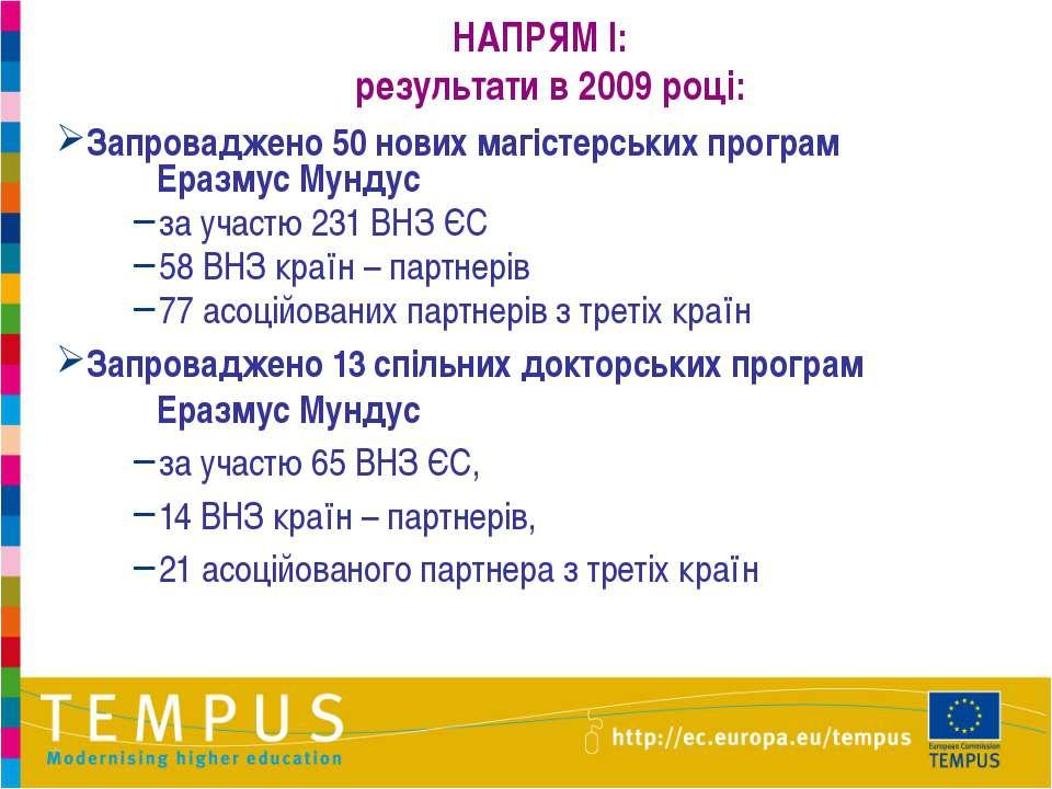 НАПРЯМ I: результати в 2009 році: Запроваджено 50 нових магістерських програм...