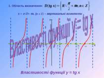 Властивості функції y = tg x х = p /2+ pn, (n Є Z) – вертикальні асимтоти 1. ...