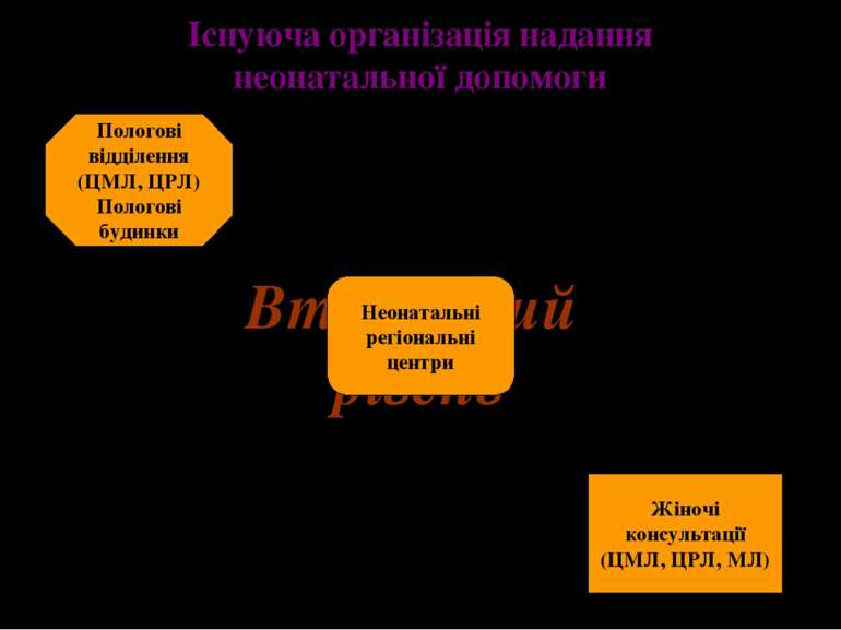 Існуюча організація надання неонатальної допомоги Вторинний рівень Пологові в...