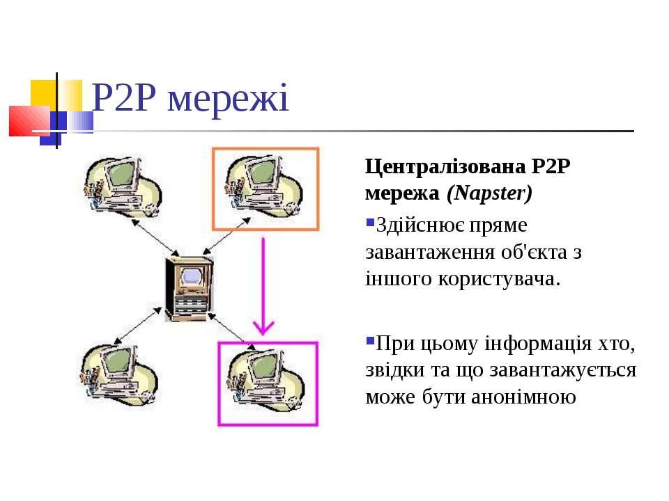 P2P мережі Централізована P2P мережа (Napster) Здійснює пряме завантаження об...