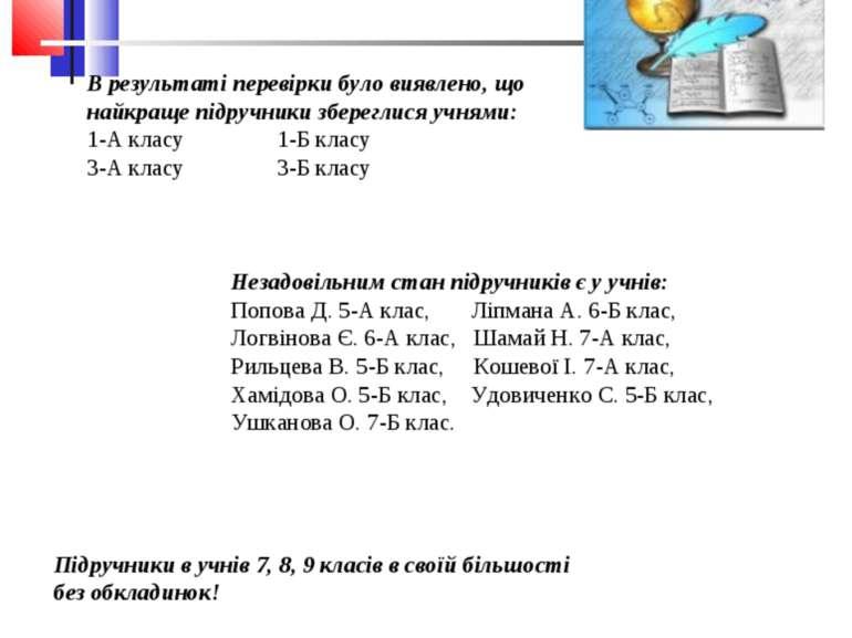 Результати рейду-перевірки стану підручників В результаті перевірки було вияв...
