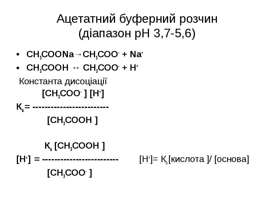 Ацетатний буферний розчин (діапазон рН 3,7-5,6) СН3СООNa→СН3СОО- + Na+ СН3СОО...