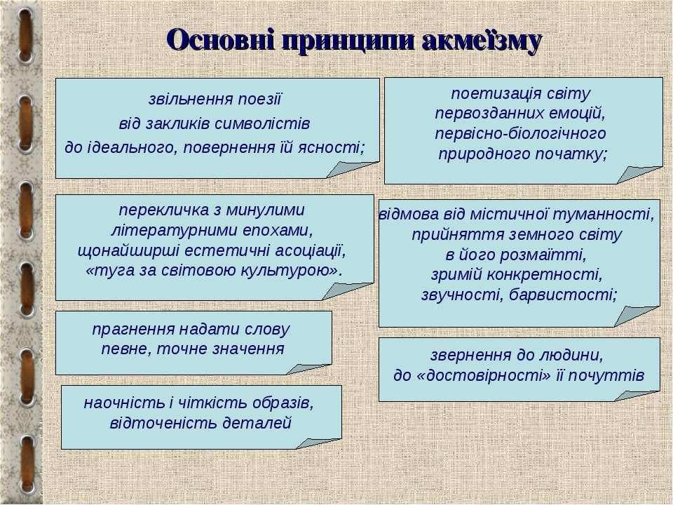 Основні принципи акмеїзму звільнення поезії від закликів символістів до ідеал...