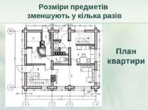 Розміри предметів зменшують у кілька разів План квартири