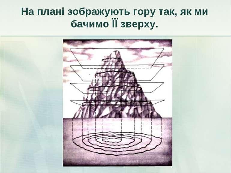 На плані зображують гору так, як ми бачимо ЇЇ зверху.