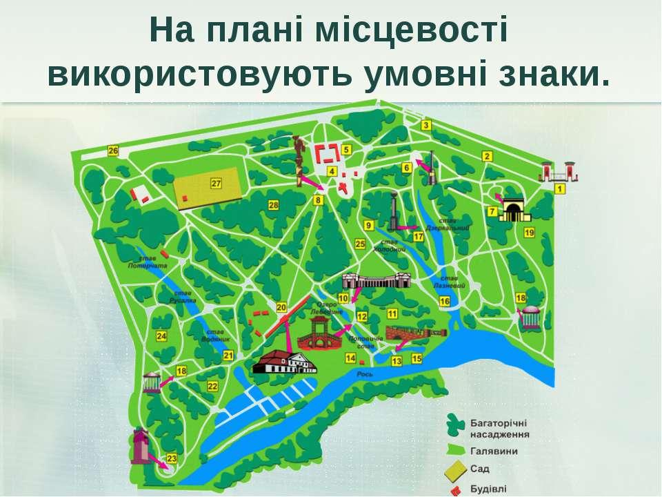 На плані місцевості використовують умовні знаки.