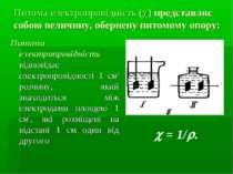 Питома електропровідність ( ) представляє собою величину, обернену питомому о...