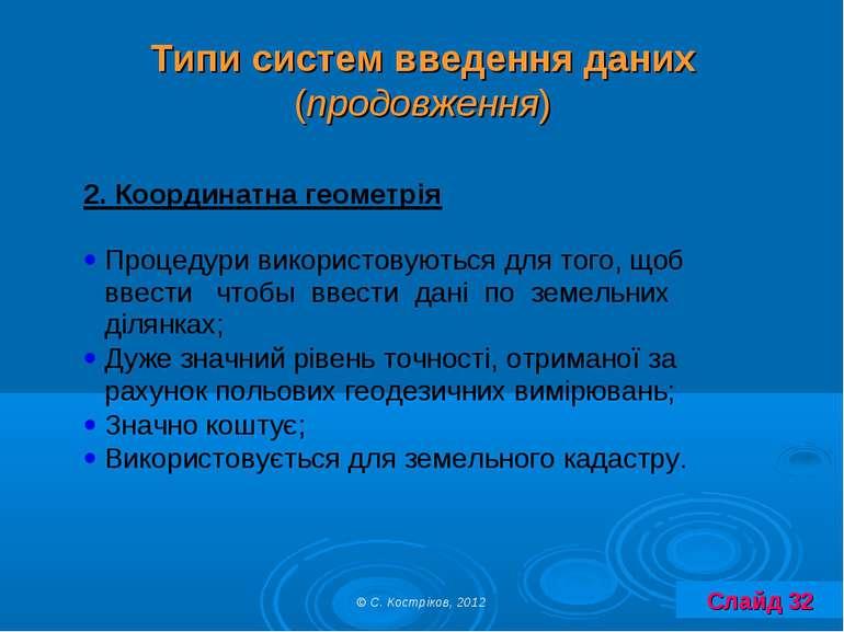 Типи систем введення даних (продовження) © С. Костріков, 2012 Слайд 32