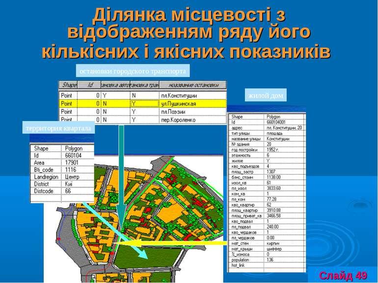 Ділянка місцевості з відображенням ряду його кількісних і якісних показників ...