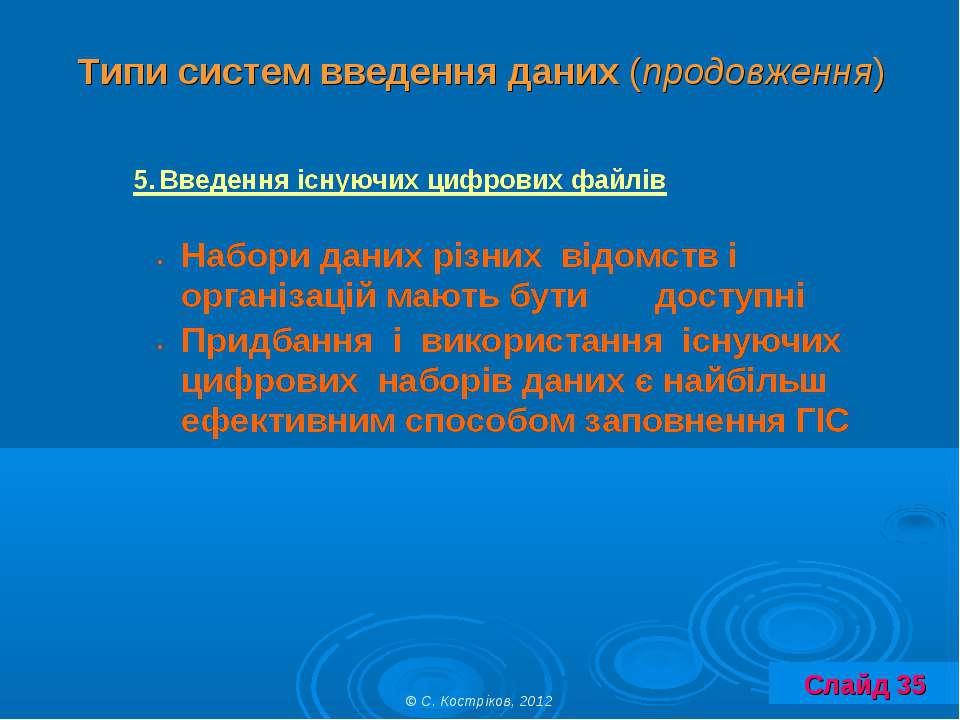 Типи систем введення даних (продовження) © С. Костріков, 2012 Слайд 35