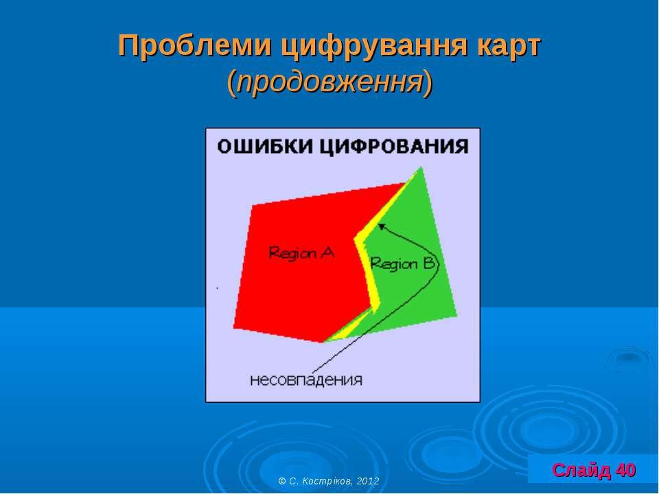 Проблеми цифрування карт (продовження) © С. Костріков, 2012 Слайд 40