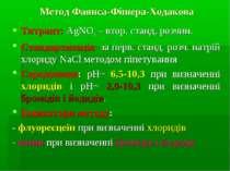 Метод Фаянса-Фішера-Ходакова Титрант: AgNO3 – втор. станд. розчин. Стандартиз...