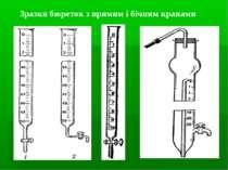 Зразки бюреток з прямим і бічним кранами