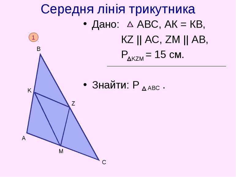 Середня лінія трикутника Дано: АВС, АК = КВ, КZ    AC, ZM    AB, P = 15 cм. З...
