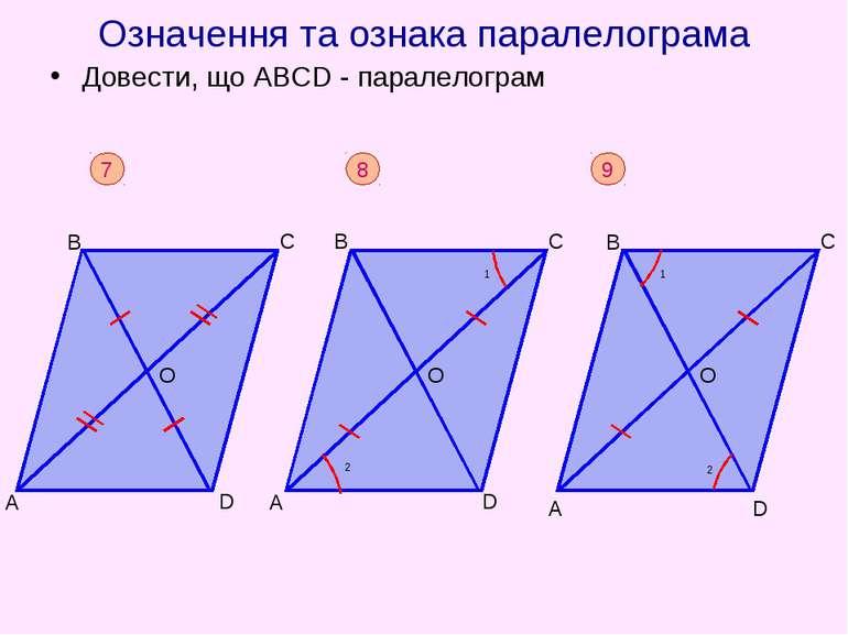 Означення та ознака паралелограма Довести, що АВСD - паралелограм