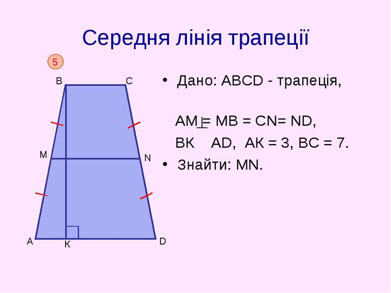 Середня лінія трапеції Дано: АВСD - трапеція, АM = МВ = СN= ND, BК АD, АК = 3...
