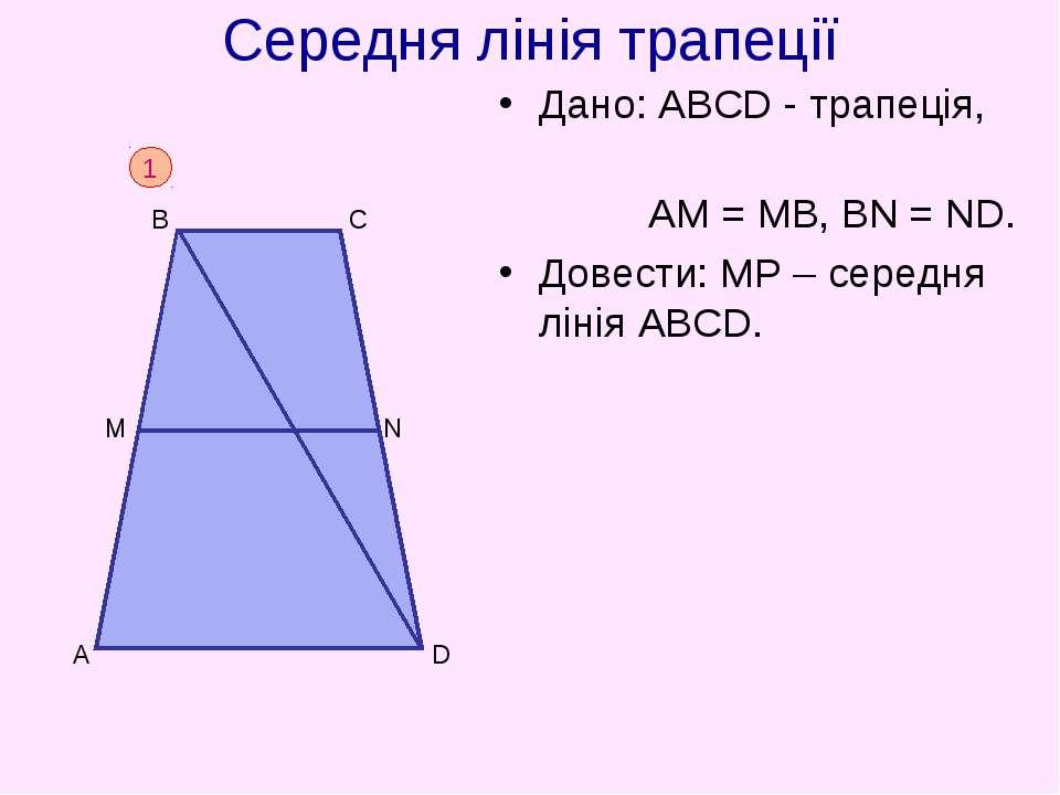 Середня лінія трапеції Дано: АВСD - трапеція, АM = МВ, ВN = ND. Довести: МР –...