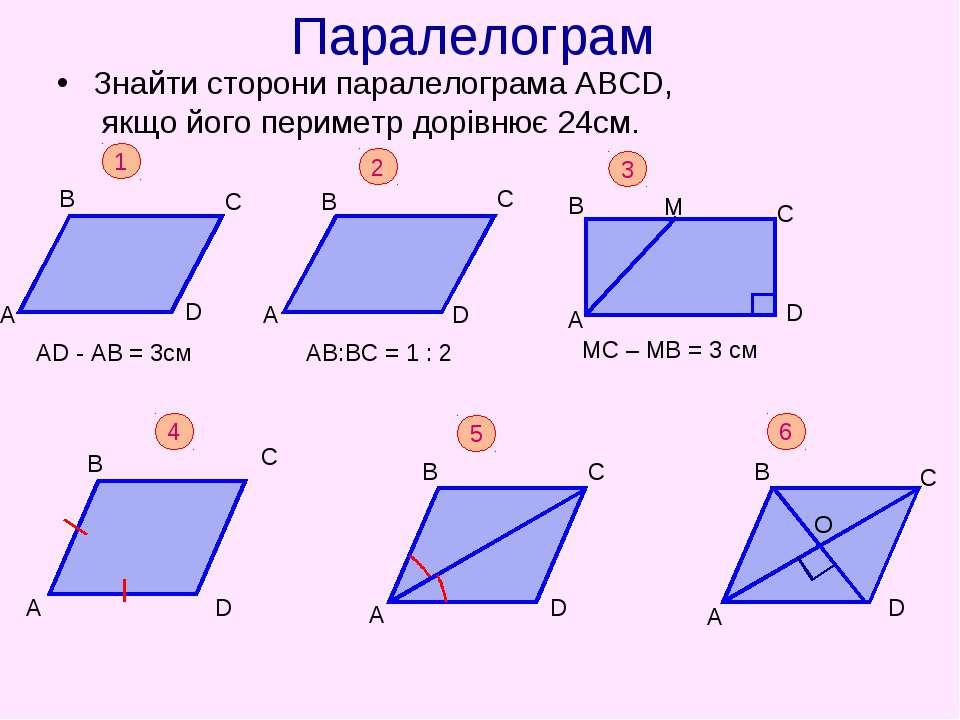 Паралелограм Знайти сторони паралелограма АВСD, якщо його периметр дорівнює 2...