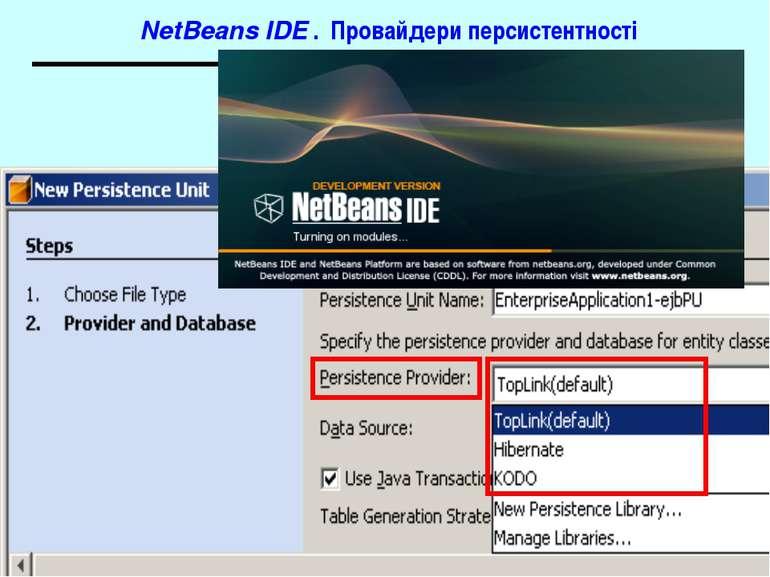 NetBeans IDE . Провайдери персистентності J2EE