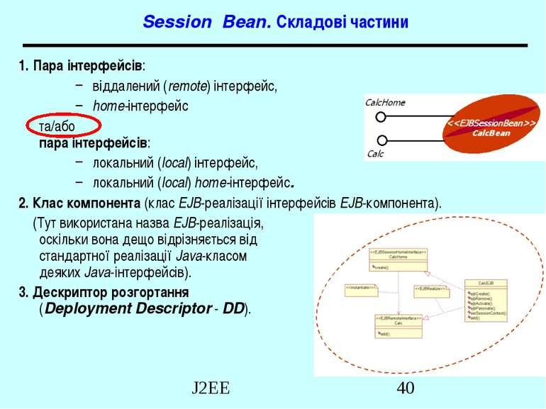Session Bean. Складові частини 1. Пара інтерфейсів: віддалений (remote) інтер...