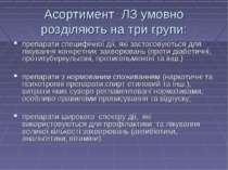 Асортимент ЛЗ умовно розділяють на три групи: препарати специфічної дії, які ...