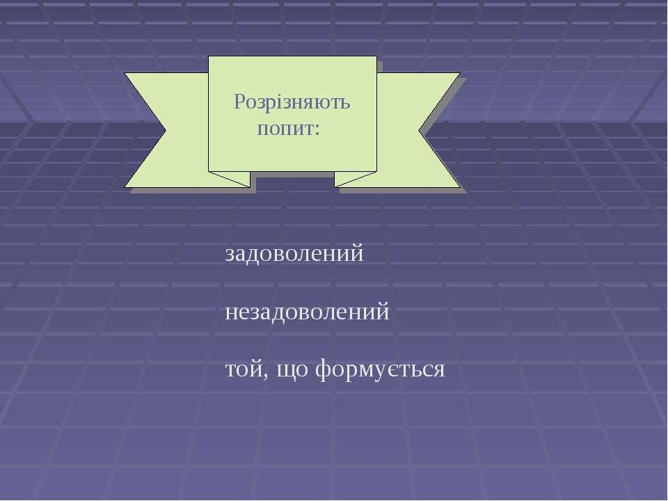 Розрізняють попит: задоволений незадоволений той, що формується