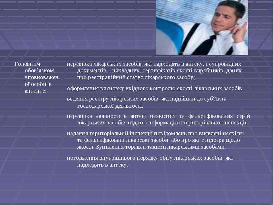 Головним обов'язком уповноваженої особи в аптеці є: перевірка лікарських засо...