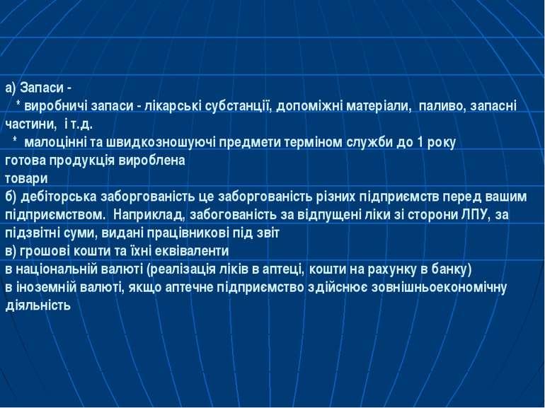а) Запаси - * виробничi запаси - лiкарськi субстанцiї, допомiжнi матерiали, п...