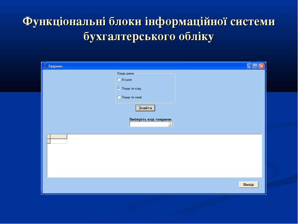 Функціональні блоки інформаційної системи бухгалтерського обліку