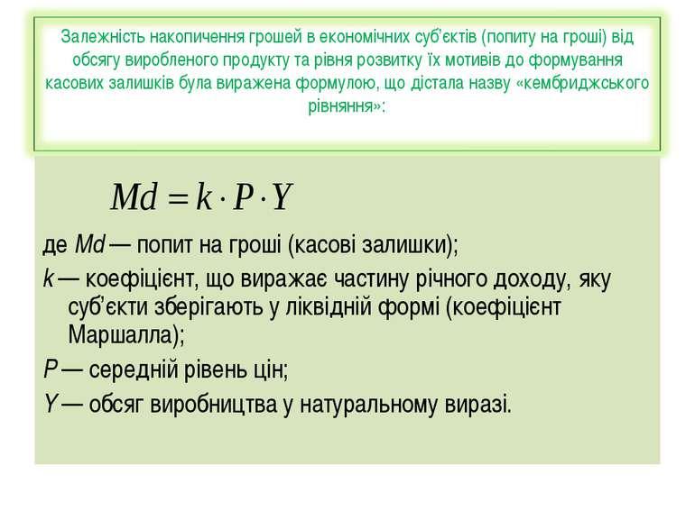 де Md — попит на гроші (касові залишки); k — коефіцієнт, що виражає частину р...